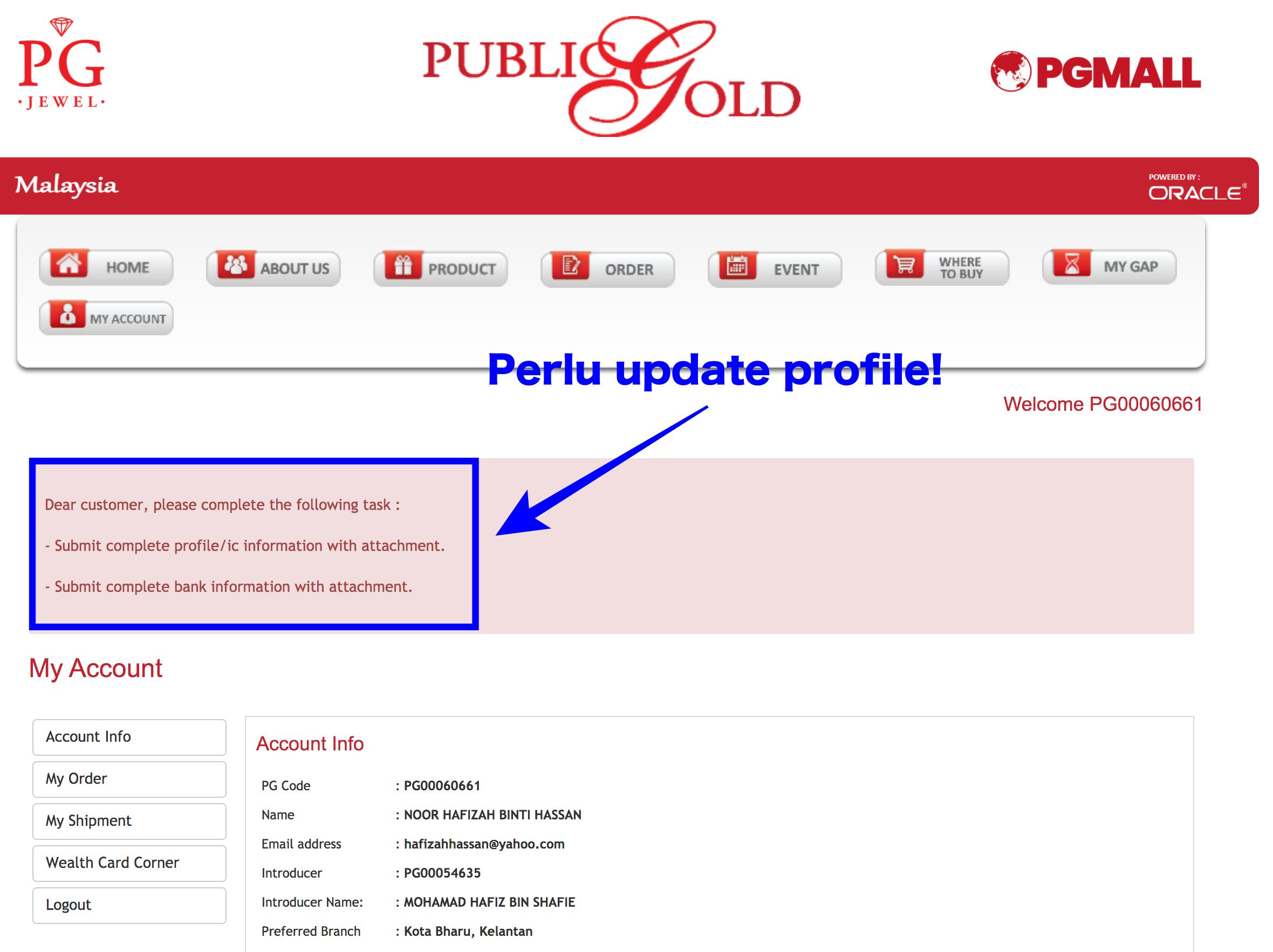 update profile customer Public Gold